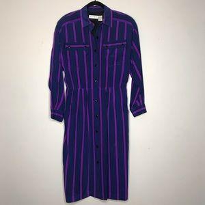 Vintage Stripe Button Front Silk Dress Size 14